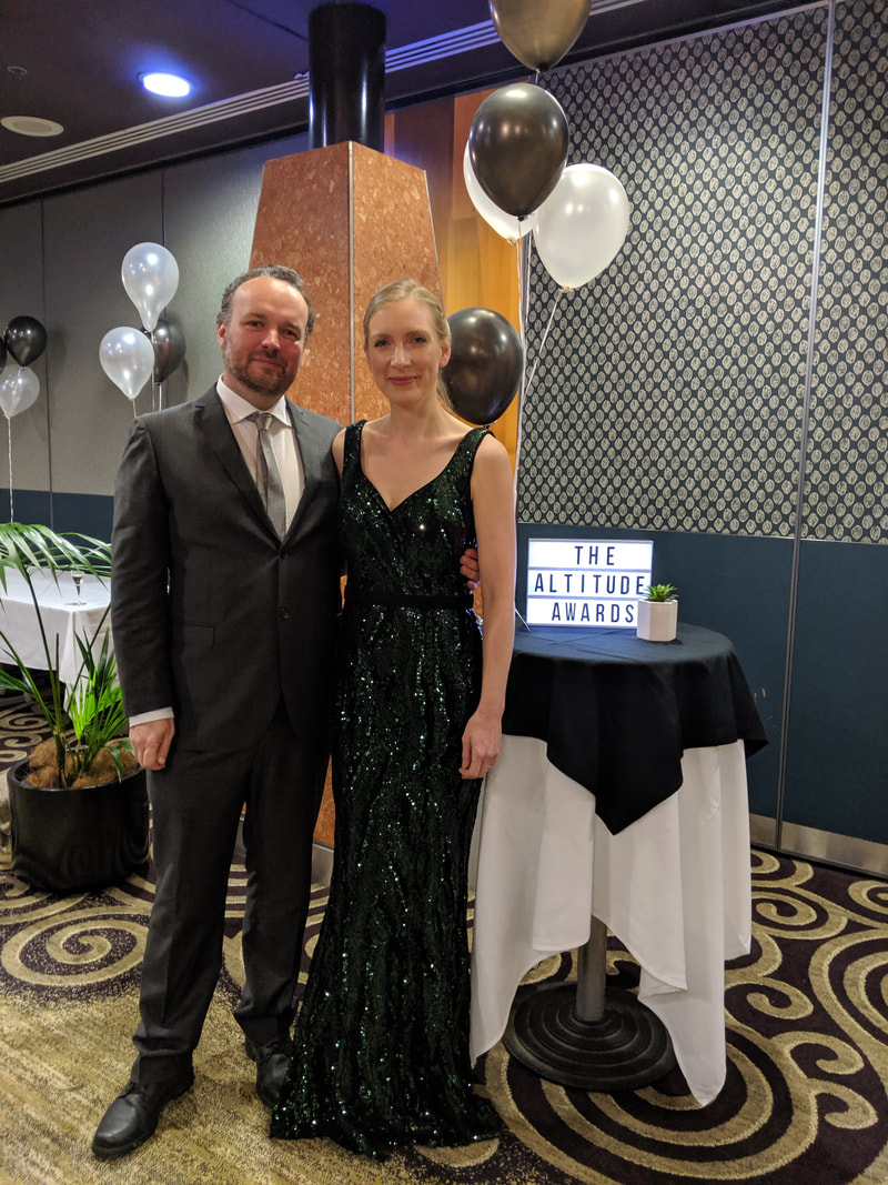 Angie Savva and husband at 2019 Altutide Awards